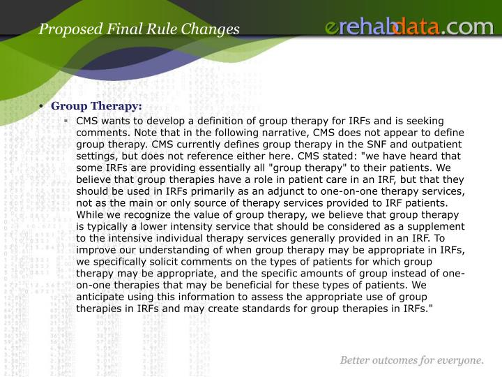 Proposed Final Rule Changes