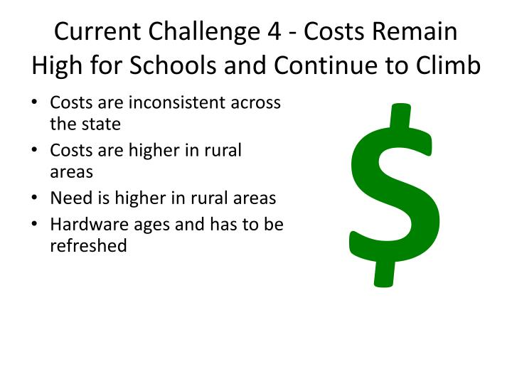 Current Challenge 4 - Costs Remain High for Schools and Continue to Climb