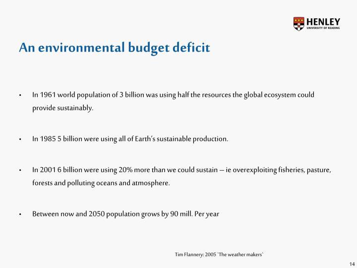 An environmental budget deficit