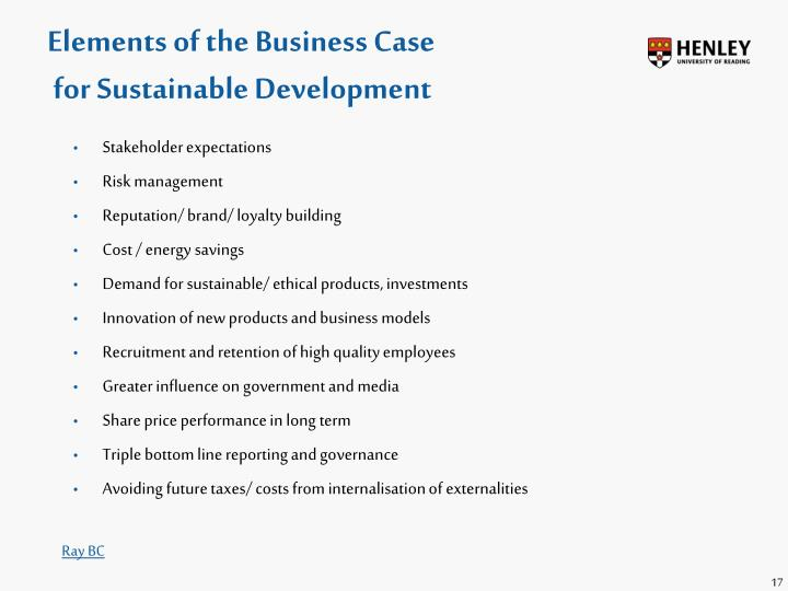 Elements of the Business Case