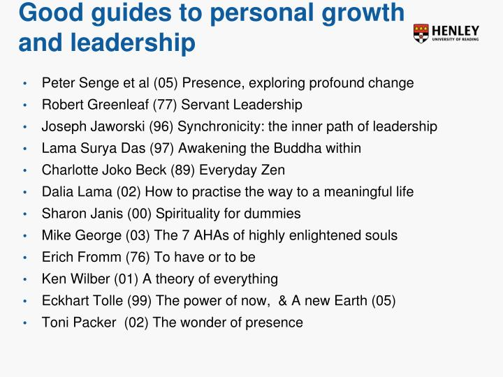 Good guides to personal growth