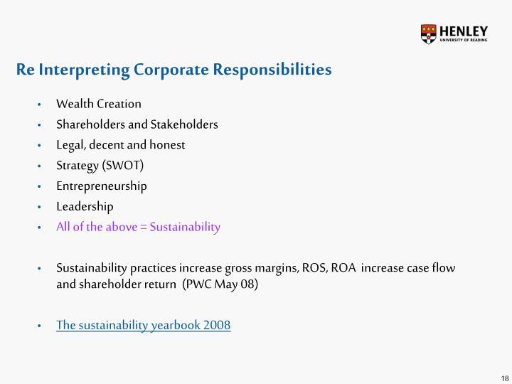 Re Interpreting Corporate Responsibilities