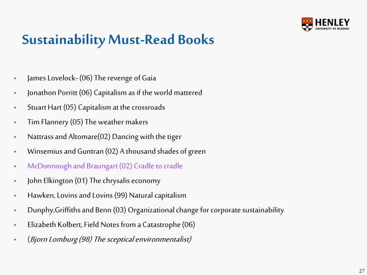 Sustainability Must-Read Books