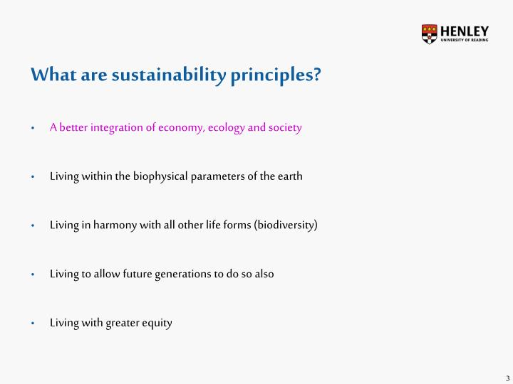 What are sustainability principles?