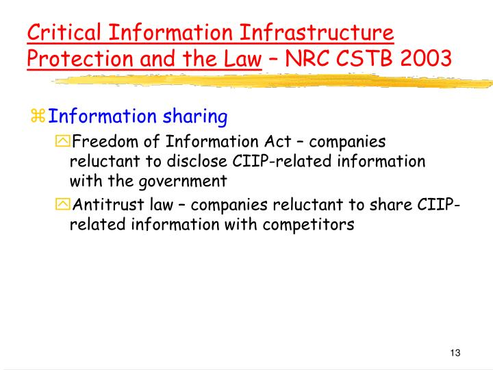 Critical Information Infrastructure Protection and the Law