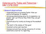 cybersecurity today and tomorrow nrc cstb 2002