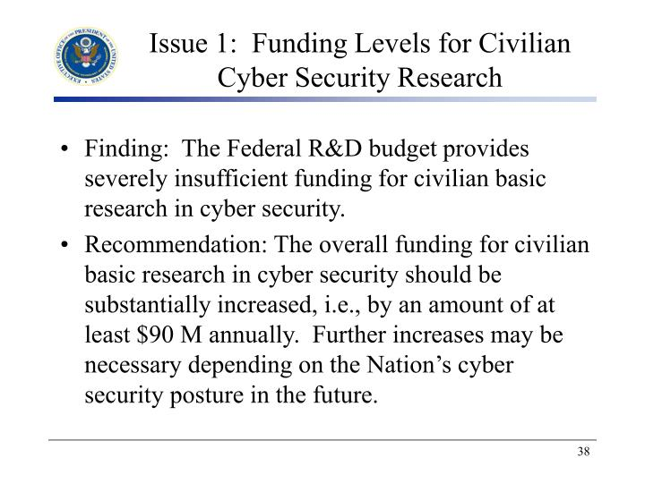 Issue 1:  Funding Levels for Civilian Cyber Security Research