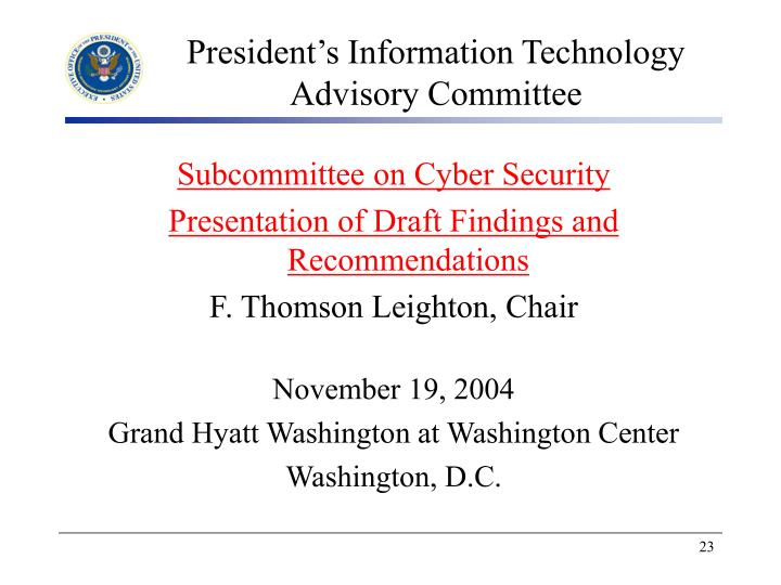 President's Information Technology Advisory Committee