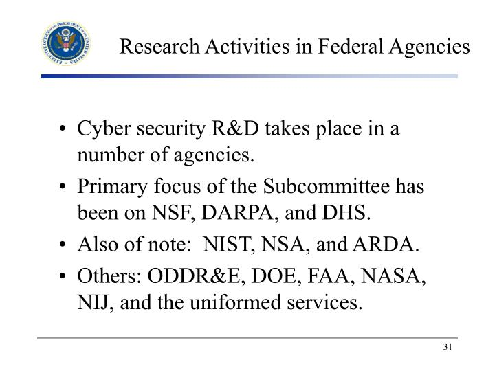Research Activities in Federal Agencies
