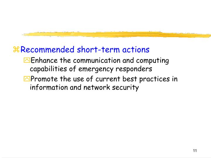 Recommended short-term actions