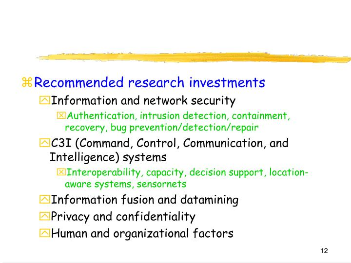 Recommended research investments