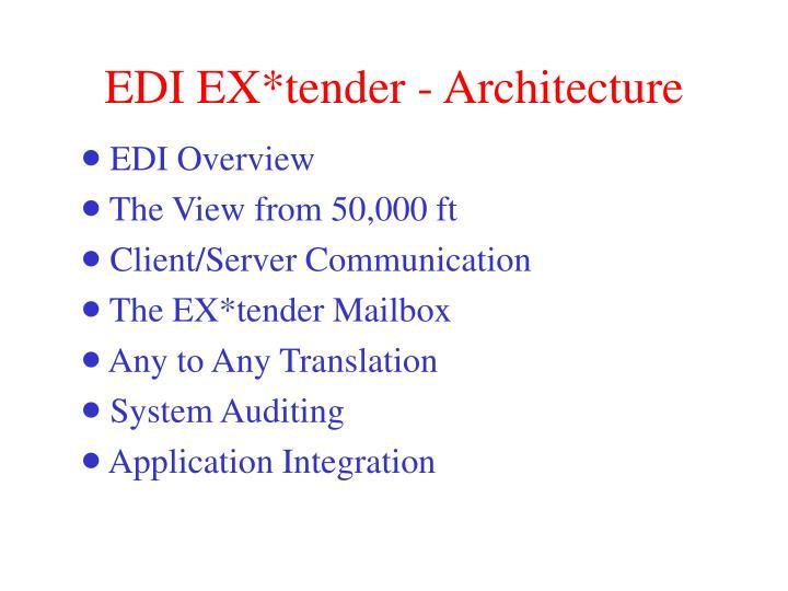 EDI EX*tender - Architecture