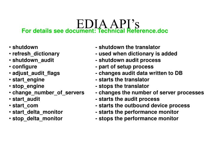 EDIA API's