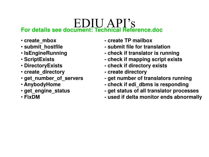 EDIU API's