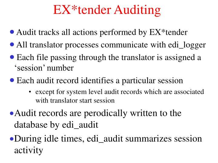 EX*tender Auditing