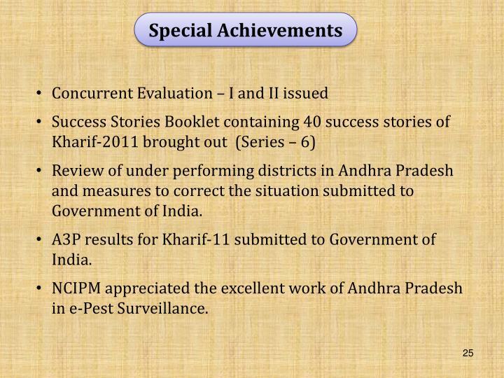 Special Achievements