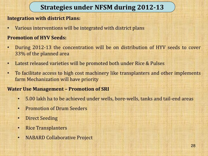 Strategies under NFSM during 2012-13