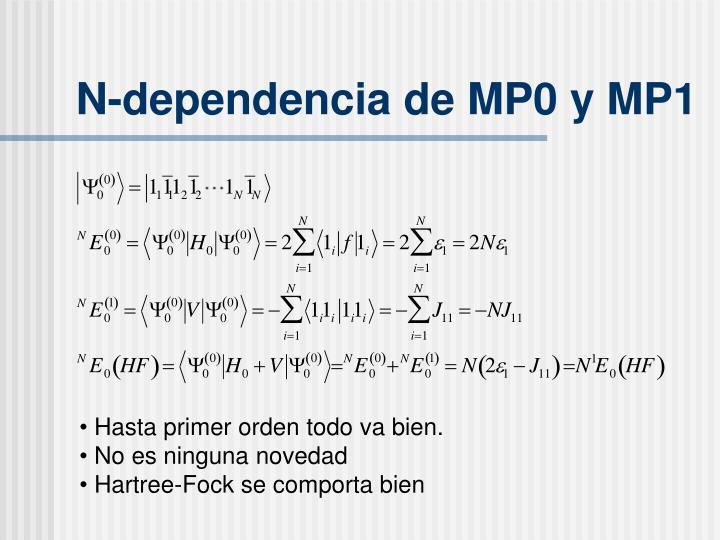 N-dependencia de MP0 y MP1