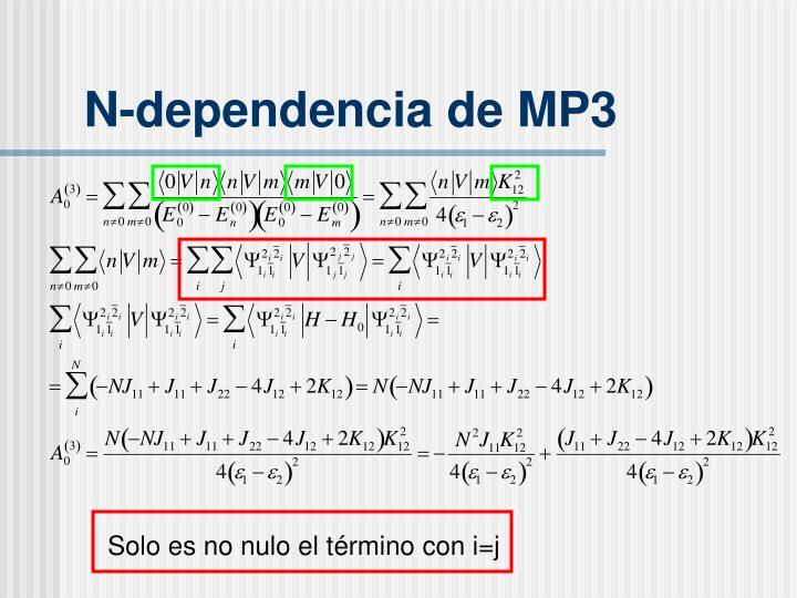 N-dependencia de MP3