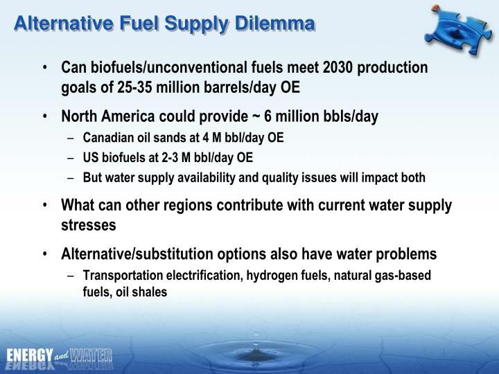 Alternative Fuel Supply Dilemma