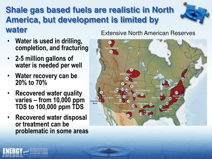 Shale gas based fuels are realistic in North America, but development is limited by water