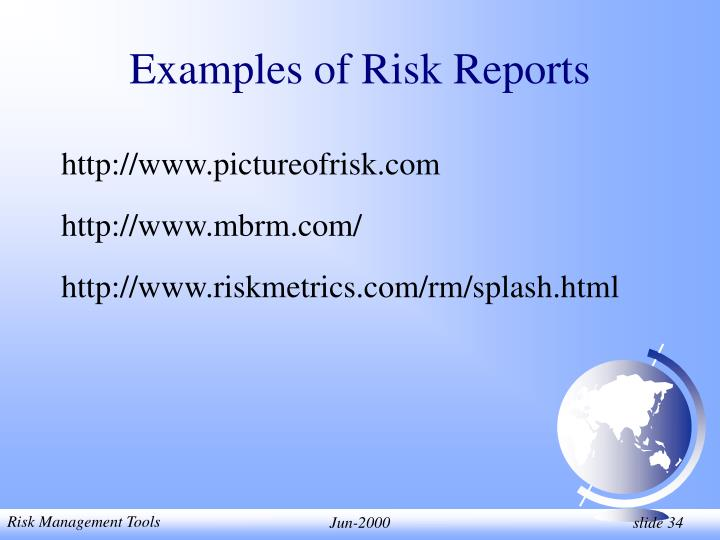 Examples of Risk Reports
