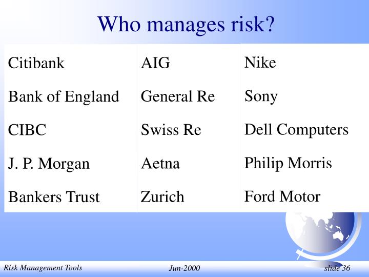 Who manages risk?