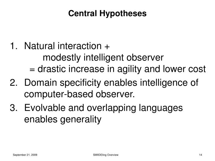Central Hypotheses