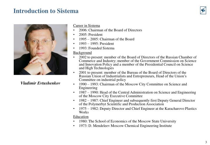 Introduction to sistema