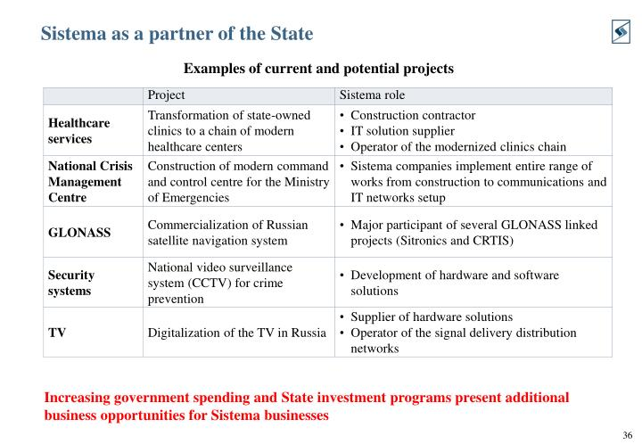 Sistema as a partner of the State