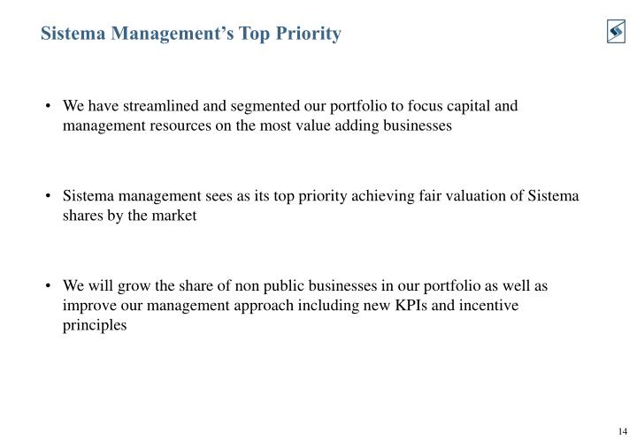 Sistema Management's Top Priority