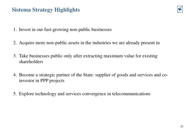 Sistema Strategy Highlights