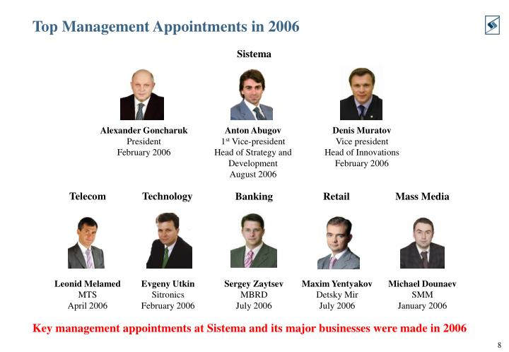 Top Management Appointments in 2006