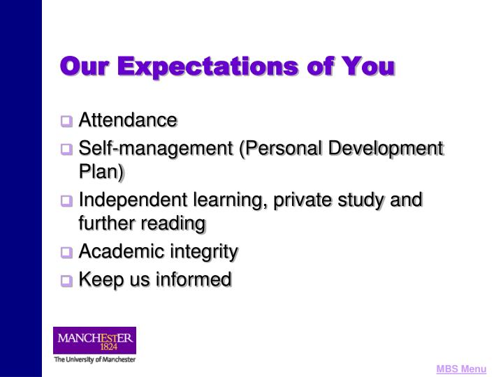 Our Expectations of You