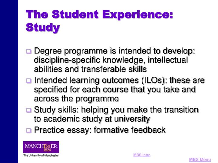 The Student Experience: Study
