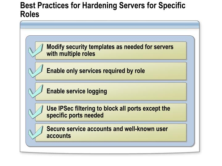 Best Practices for Hardening Servers for Specific Roles