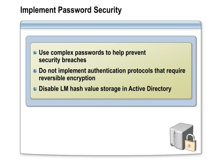 Implement Password Security
