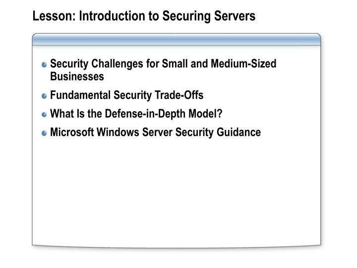 Lesson introduction to securing servers