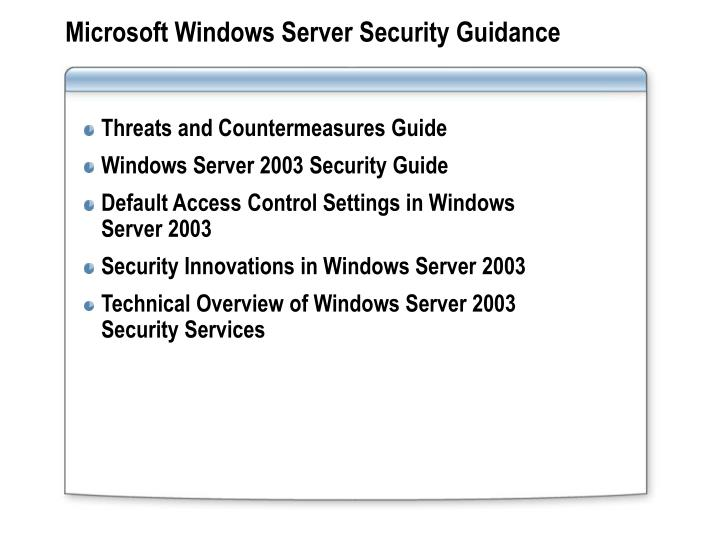 Microsoft Windows Server Security Guidance