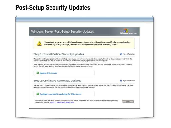 Post-Setup Security Updates