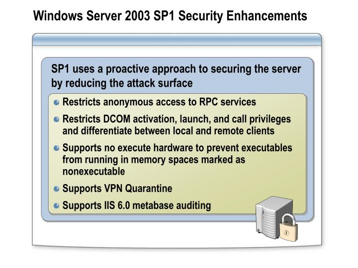 Windows Server 2003 SP1 Security Enhancements