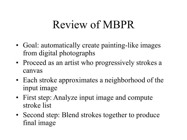 Review of mbpr