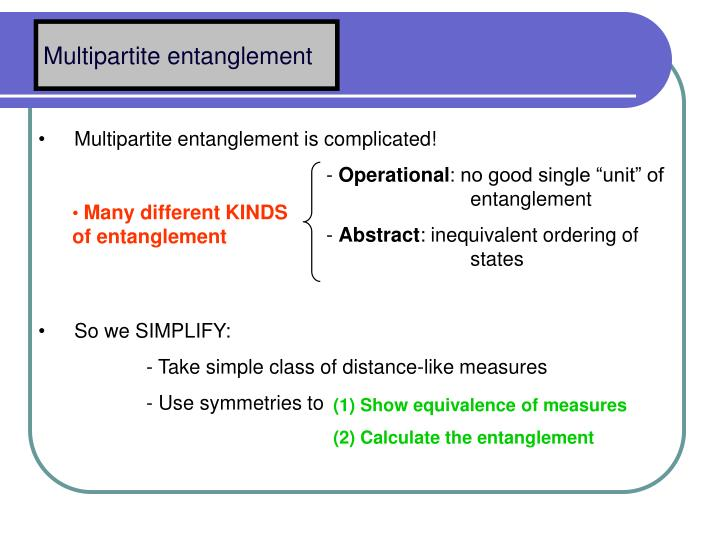 Multipartite entanglement