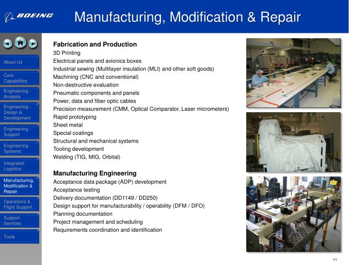 Manufacturing, Modification & Repair