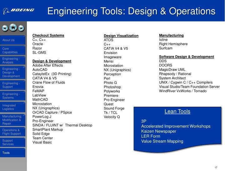 Engineering Tools: Design & Operations