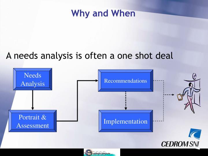 A needs analysis is often a one shot deal