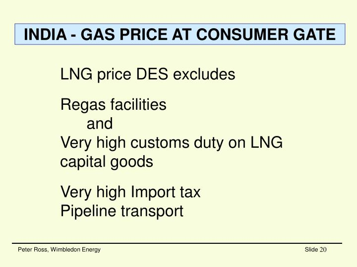 INDIA - GAS PRICE AT CONSUMER GATE
