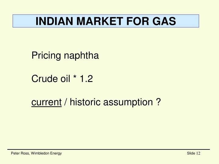 INDIAN MARKET FOR GAS