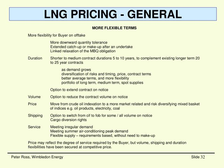 LNG PRICING - GENERAL