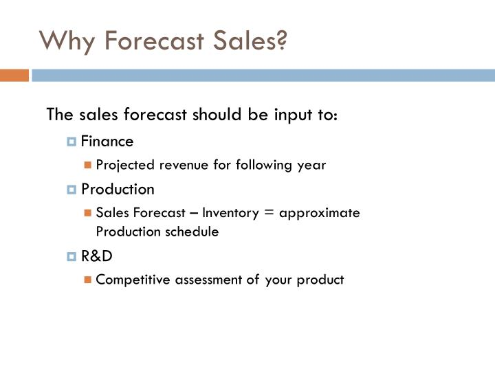 Why forecast sales